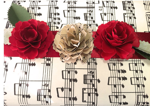 Red Rose Paper Rose made from red sheet music